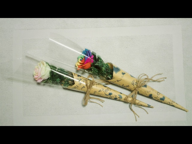 How To Make Flower Bouquet With Single Rose 2