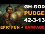 Pudge Rampage GH-God . CRAZY Dota 2 Fun 42 Kills #dota2