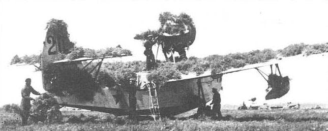 Маскировка подручными средствами гидросамолетов МБР-2-М-34 из 119-го мрап ЧФ. Донузлав, сентябрь 1941г.