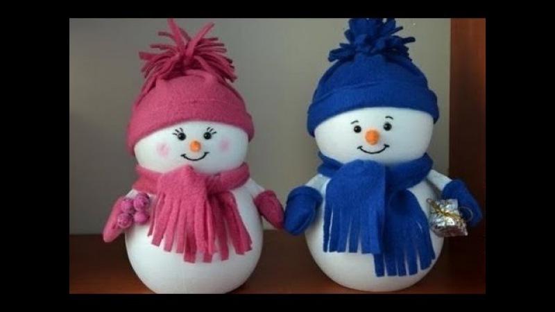 DIY. Снеговик из носка своими руками . Snowman.Делаем с детьми. Новогодний декор своими руками.