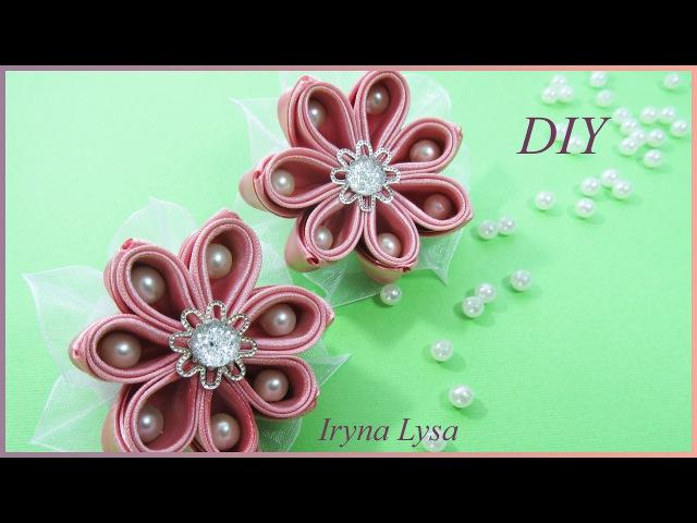 Цветок из атласной ленты 5 см с бусинами, МК, Iryna Lysa