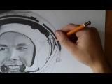 Time lapse drawing Yuri GagarinРисуем Юрия Гагарина