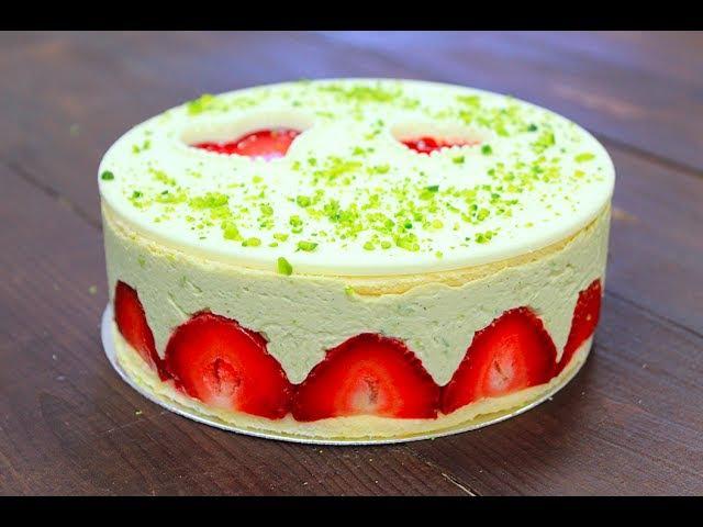 Торт Фрезье Фисташковый Strawberry Fraisier Cake with Pistachios