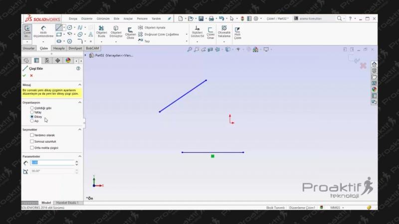 SolidWorks Parça 5 2B Tasarıma Çizim Girişi