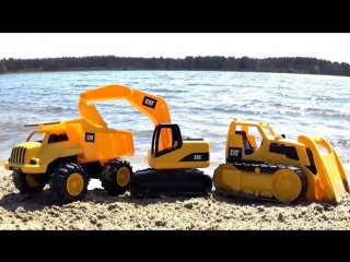 Развивающие машинки на песке. Самосвал с экскаватором и др. Развивающий мультик для детей.