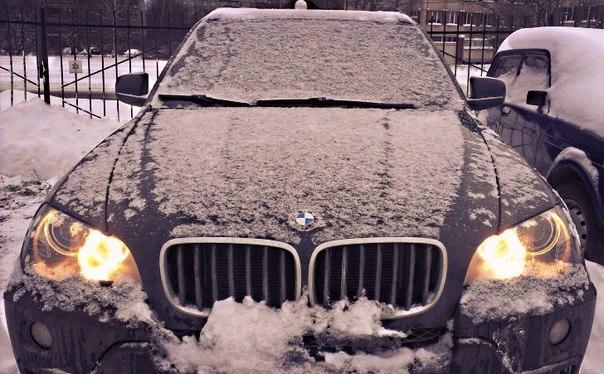 Отогрев машины BMW в мороз зимой