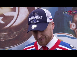 Антон Белов на чемпионском параде СКА