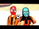 Супергерои играют в футбол Спайдермен Гриша с братом Тимуром превратились в суп...