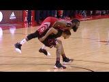 James Harden lays on top of Michael Carter Williams  Bulls vs Rockets  Feb 3, 2017