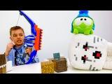 Ам Ням видео с игрушками! Майнкрафт! Глеб и Стив идут на охоту. ИгроБой.