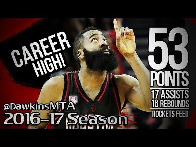 James Harden INSANE Career-HIGH 2016.12.31 vs Knicks - 53 Pts, 17 Ast, 16 Rebs, Rockets Feed!