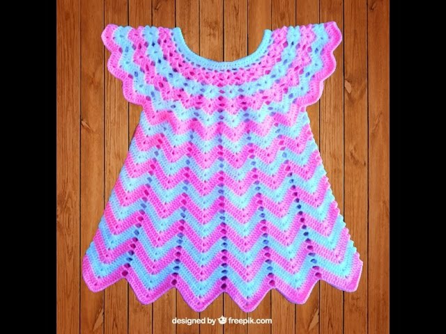Вязание крючком платюшко полосатое для девочки часть4