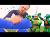 Видео для детей игры Черепашки ниндзя! Дима учится быть ниндзя. Фабрика героев.