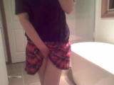 Kitten_Girl (Pee Desperation, Red Skirt, Plaid Panties, Wetting)