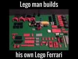Lego man builds Lego Ferrari