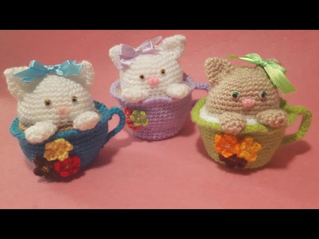 Gatto nella Tazza Amigurumi Tutorial - Cat in the Cup Crochet - Gato Taza