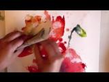 Акварель - полевые Маки ( захватывающая живопись )