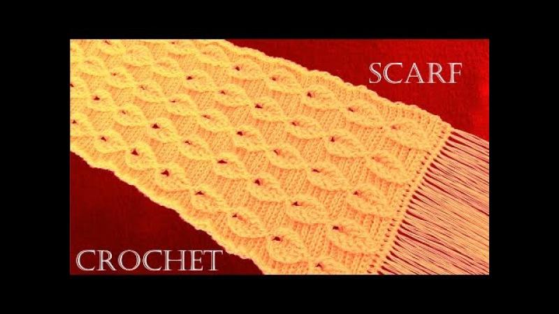Como tejer a Crochet o Ganchillo bufanda chalina en punto de hojas en relieve