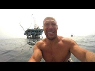 Заплыв к нефтяным вышкам в Санта-Барбаре на серф-борде