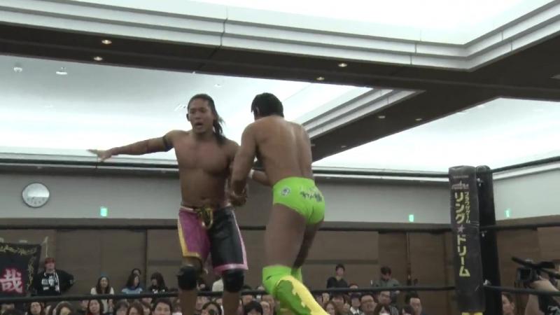 Masakatsu Funaki, Yukio Sakaguchi (c) vs. Smile Squash (Akito, HARASHIMA) (DDT - Dramatic Nerima The Fighter 2017)