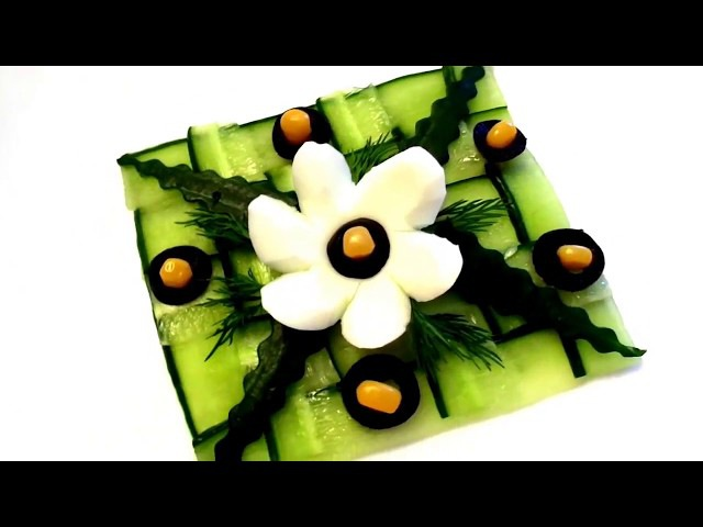 HOW TO MAKE CUCUMBER GARNISH CUTTING - FLOWER OF EGGS ART IN CUCUMBER - VEGETABLE CARVING