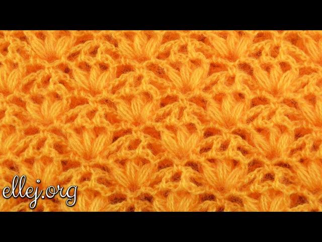 ♥ Узор крючком Пышные Трилистники Вязание по кругу Мастер класс и Схема вязания