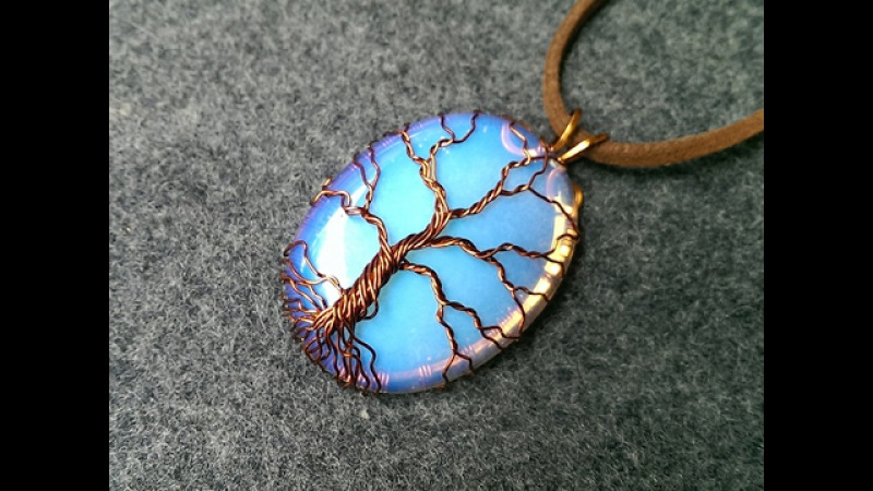 Pendant Tree of Life with big opalite no holes - Wire Wrapping stones 206