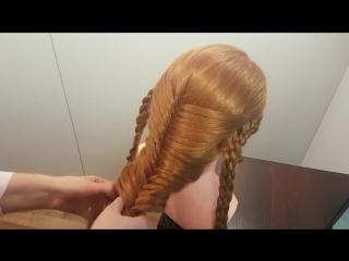 прически в школу или работу для девушек девочек простые косы колосок 5 ти 4 х прядное плетение