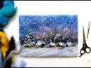 Картины из шерсти мастер класс зимний пейзаж