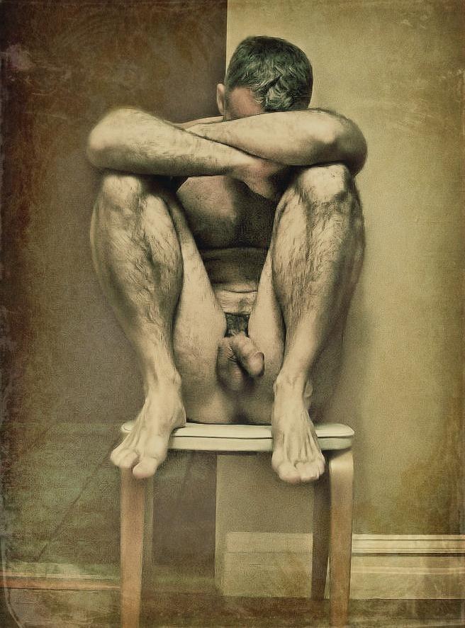 Original Oil Painting Art Cowboy Male Nude On Linen Hongtao Huang