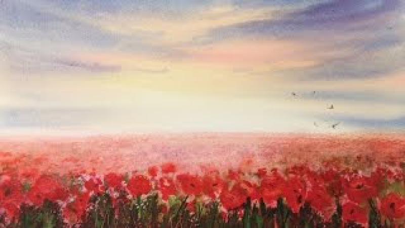 Маковое поле акварелью. Используем соль. Poppy Field in watercolour using salt