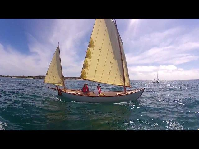Gaff rigged sailing along Garden Island Western Australia