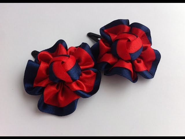 The decoration on the hairpin Kanzashi / Red-blue flower
