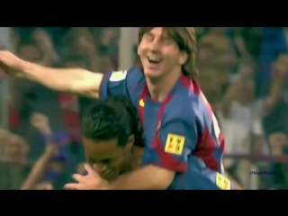 In 2005, Ronaldinho assisted Lionel Messi's first ever senior goal for Barcelona.