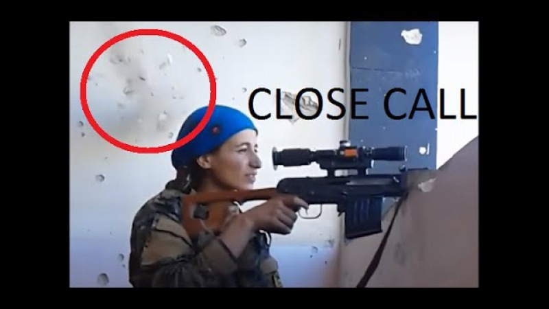 Kurdish female sniper escapes bullet by an inch laughs it off Full HD