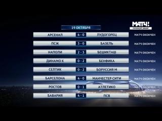 Обзор матчей: Футбол. Лига чемпионов. 3-й тур (19 октября 2016)