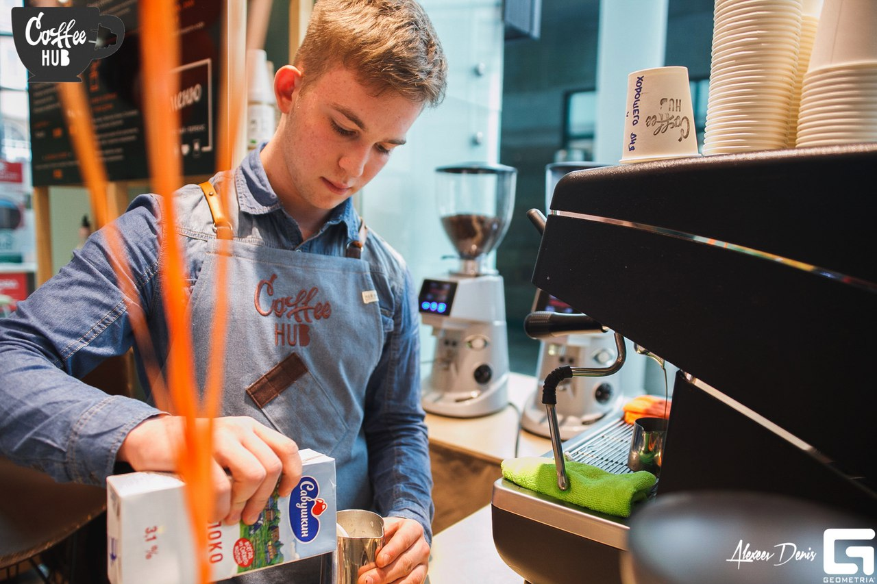 Грибков Дмитрий, работает с января 2017 года, сварил более 8 тысяч чашек кофе