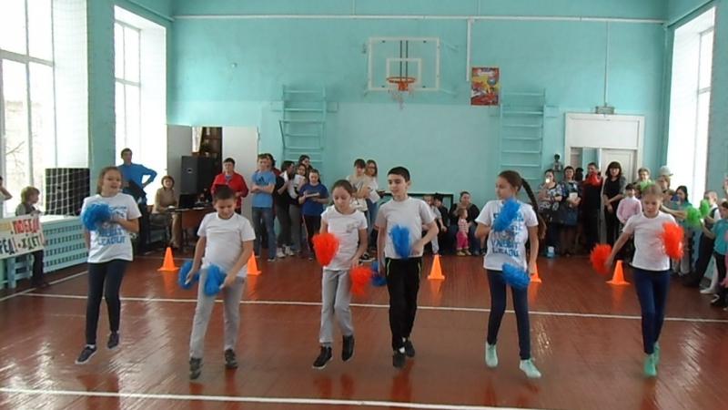 Спортивные соревнования Мы с папой команда Школа № 118 Танец группы поддержки 5 А класса 21 02 2017
