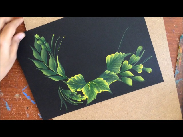 One Stroke Painting- Pink Flowers on Leaf Base
