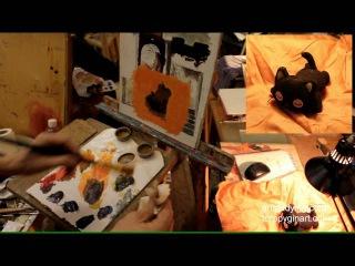 Этюд котика - Обучение живописи. Масло. Введение, серия 7.1