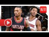 Derrick Rose vs Damian Lillard Full PG Duel Highlights (2016.11.22) Knicks vs Blazers - SICK!