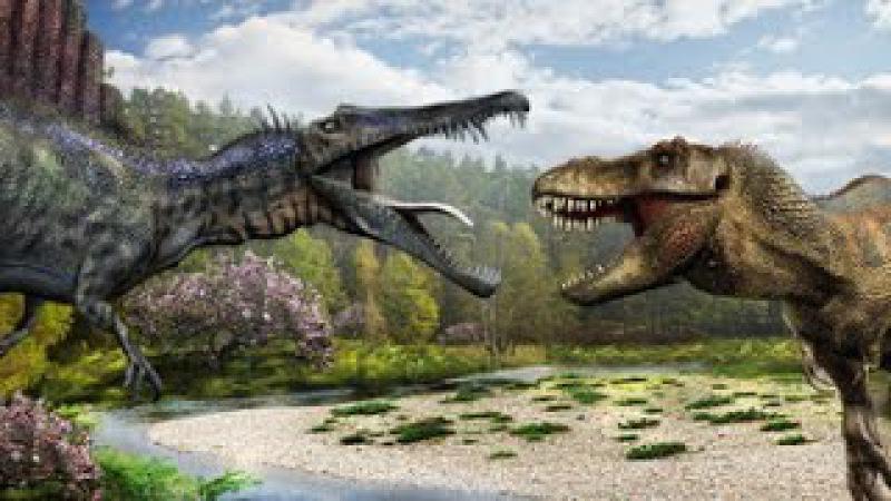 Поле битвы. Спинозавр - самый большой динозавр хищник. Доисторический мир. Докум ...