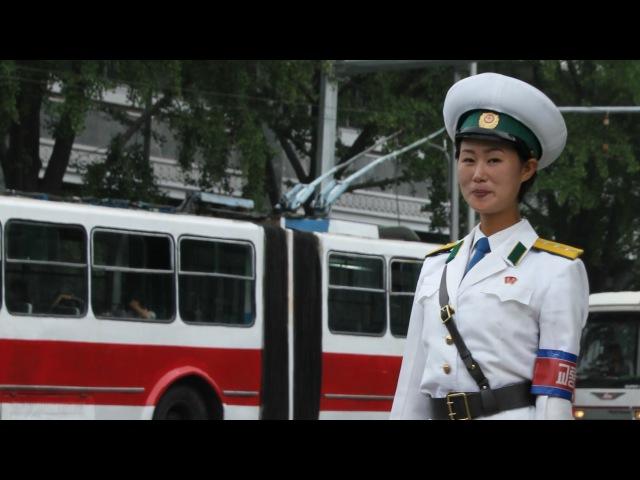 North Korea DPRK Pyongyang Traffic Girl Summer Uniform
