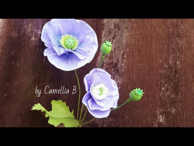 DIY- Opium Poppy flowers from crepe paper - Flores de amapola de opio de crepe papel - 鴉片罌粟花從縐紙