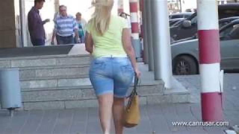Blonde wears big ass in a short jeans