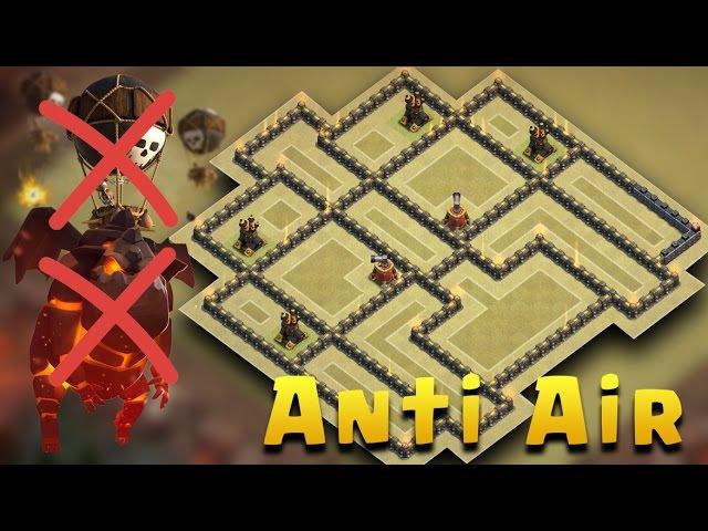 Town Hall 9 War Base Anti Air Attack | TH9 War Base Anti New Meta (Lavaloon) 2017 | Clash Of Clans