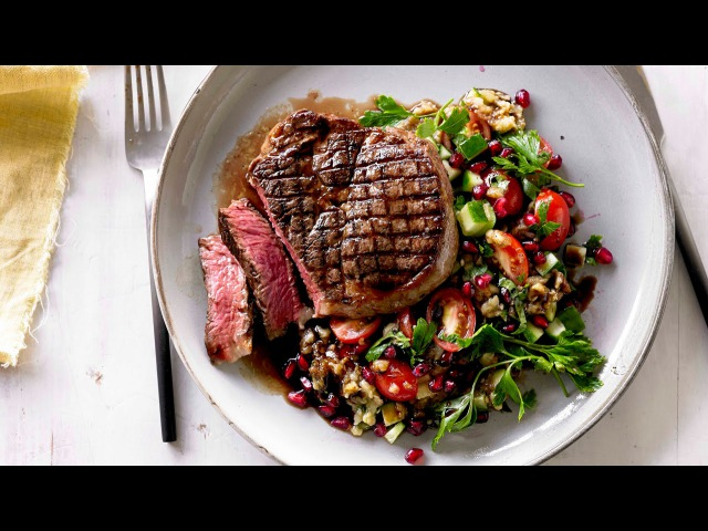 How to cook scotch fillet steak with smoky eggplant and pomegranate salad