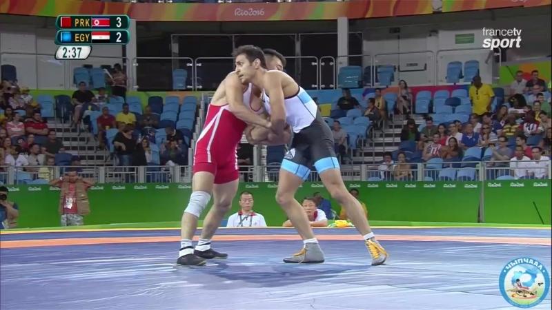 РИО-2016 греко-римская борьба 59 кг 1_8 финала Юн Вон Чхоль (КНДР) - Хайтем Махмуд (Египет)