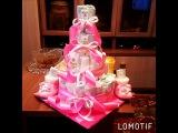 Подарок для новорожденной. Торт из памперсов. Моя работа.