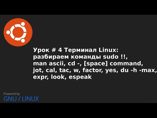 Видео урок 4 Терминал Linux команды: sudo !!,man,cd ,jot,cal,tac,w,yes,du,expr,look,espeak